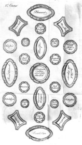 Second course by Elizabeth Raffald. 1769, with serving dishes specially shaped for specific table positions.