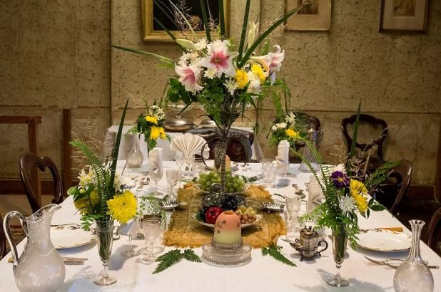 Centerpiece with Flowers and Fruit